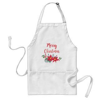 Merry Christmas Watercolor Poinsettia Apron