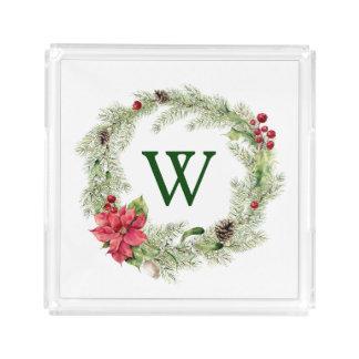 Merry Christmas Watercolor Poinsettia Pine Frame 2 Acrylic Tray