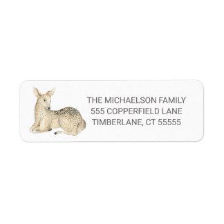 Merry Christmas Watercolor Winter Deer Return Address Label