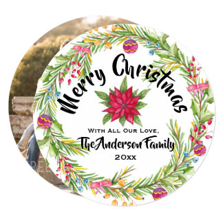 Merry Christmas Watercolor Wreath Photo Card