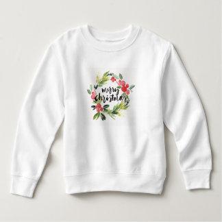 Merry Christmas Watercolor Wreath Sweatshirt