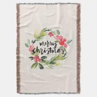 Merry Christmas Watercolor Wreath Throw Blanket