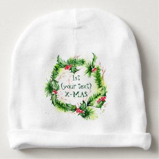 Merry Christmas Watercolors Baby Beanie