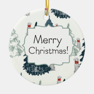 MERRY CHRISTMAS WEIM TREES CERAMIC ORNAMENT