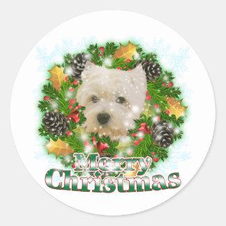 Merry Christmas Westie Classic Round Sticker