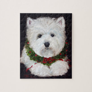 Merry Christmas Westie West Highland Terrier Gift Jigsaw Puzzle
