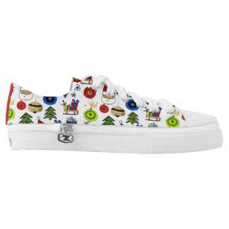 Merry Christmas Whimsical Ornaments and Icons Low-Top Sneakers