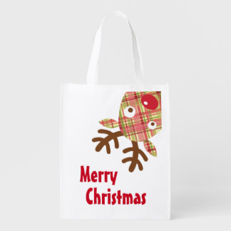 Merry Christmas Whimsical Reindeer Reusable Grocery Bag