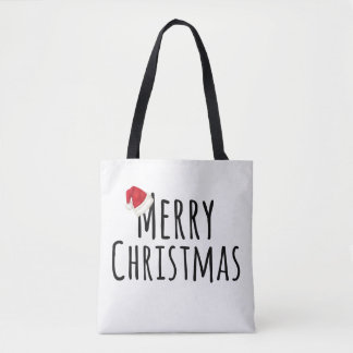 Merry Christmas Whimsical Santa Hat on White Tote Bag