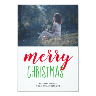 Merry Christmas Whimsical Script Holiday Photo Card