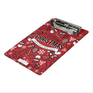 Merry Christmas White and Red Characters Pattern