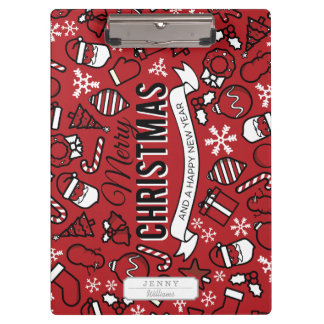 Merry Christmas White and Red Characters Pattern Clipboards