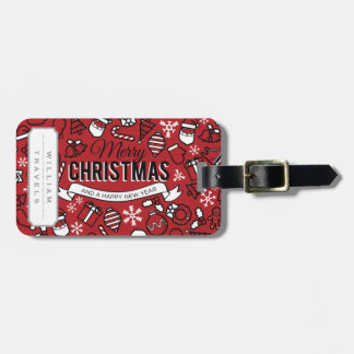 Merry Christmas White and Red Characters Pattern Luggage Tag