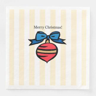 Merry Christmas White Dinner Paper Napkin Yellow