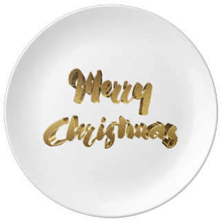 Merry Christmas White Gold Handwriting Typography Plate