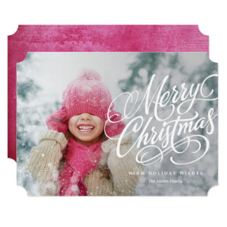 Merry Christmas White Overlay Holiday Photo Card