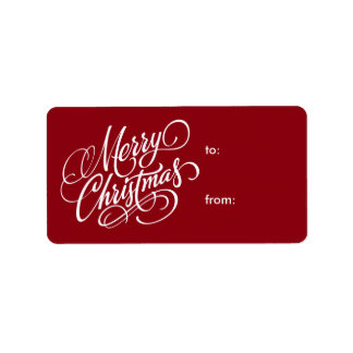 Merry Christmas White Script Christmas Gift Tags