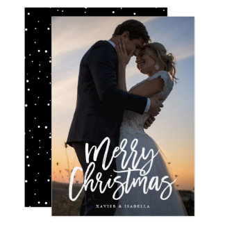 Merry Christmas White Script Holiday Photo Card