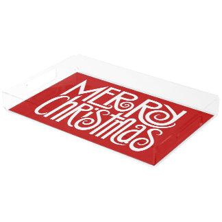 Merry Christmas white Text Rectangle Tray