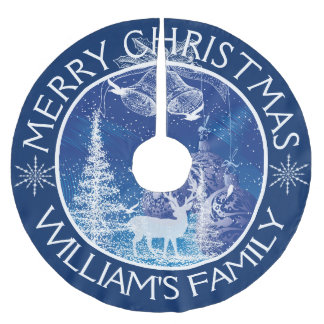 Merry Christmas White Trees Blue Background Brushed Polyester Tree Skirt