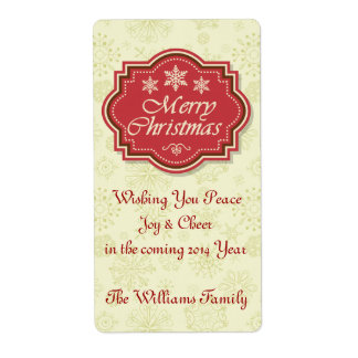 Merry Christmas Wine Label Gift Tag Shipping Label