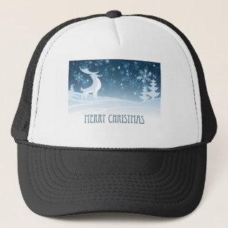 Merry Christmas Winter Landscape Deer Scene Trucker Hat
