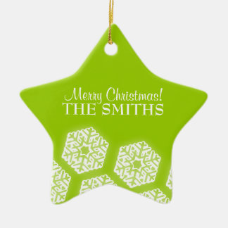 Merry Christmas Winter Snowflakes Lime Green Ceramic Ornament