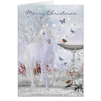 Merry Christmas Winter Unicorn, Robins Card