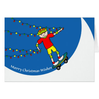 Merry Christmas Wishes, Skateboarder with Lights Card
