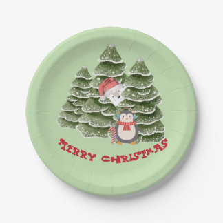 Merry Christmas With A Penguin And Polar Bear Paper Plate