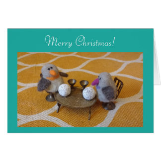 Merry Christmas with a penguin couple Card