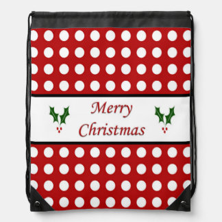 Merry Christmas with a Polka Dot pattern Drawstring Bags