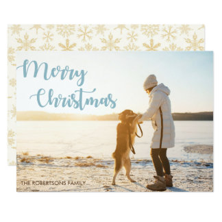 Merry Christmas with a woman and a dog Photo Card