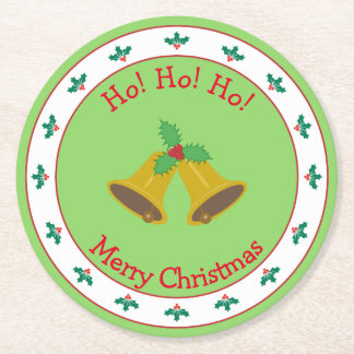 Merry Christmas with Bells and Holly Round Paper Coaster