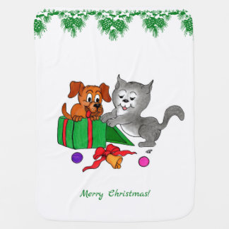 Merry Christmas with Cat and Dog Baby Blanket