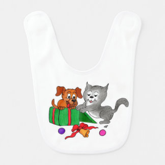Merry Christmas with Cat and Dog Bib