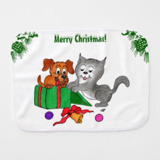 Merry Christmas with Cat and Dog Burp Cloth
