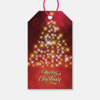 Merry Christmas with Christmas Tree Gift Tags