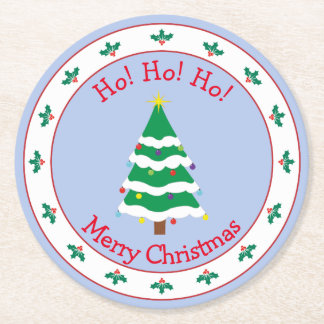 Merry Christmas with Christmas Tree Round Paper Coaster