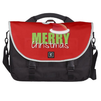 MERRY Christmas with cute santa hat Commuter Bags
