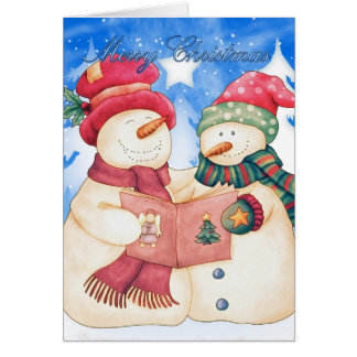 Merry Christmas With Cute Snowman And Snow woman Card