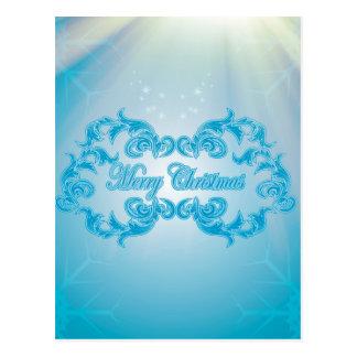 Merry Christmas with elegant, decorative damasks Postcard