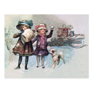 Merry Christmas with Girls with Jack Russell Postcard