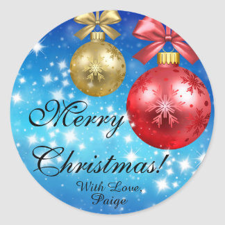Merry Christmas With Love Personalized Classic Round Sticker