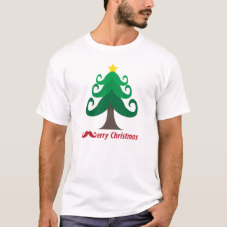 Merry Christmas with Mustache Christmas Tree T-Shirt