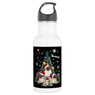Merry Christmas with Pug Dog Animal 532 Ml Water Bottle