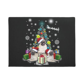 Merry Christmas with Pug Dog Animal Doormat
