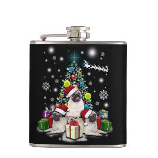 Merry Christmas with Pug Dog Animal Hip Flask