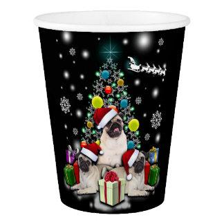 Merry Christmas with Pug Dog Animal Paper Cup
