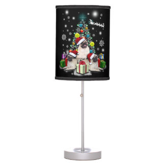 Merry Christmas with Pug Dog Animal Table Lamp